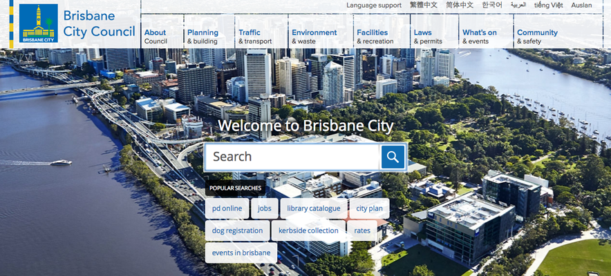 Website translation example 3: screenshot of Brisbane City Council website