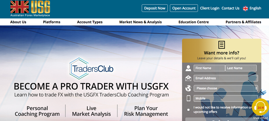 Website translation example 4: screenshot of USG website