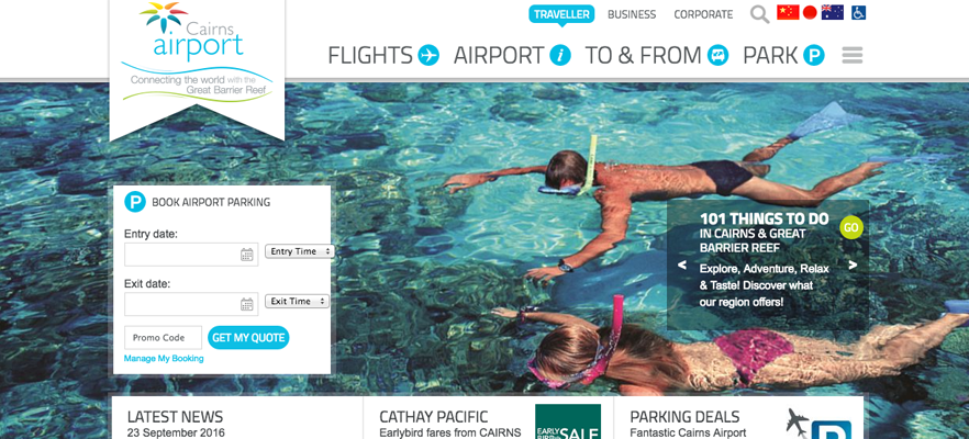 Website translation example 5: screenshot of Cairns Airport website