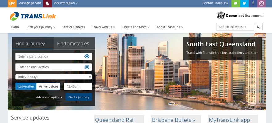 Website translation example 2: screenshot of Translink website
