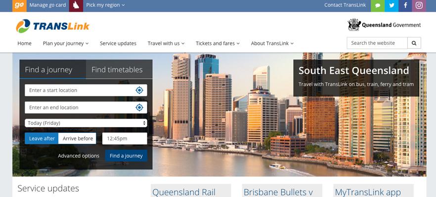 Website translation samples 2: Translink website